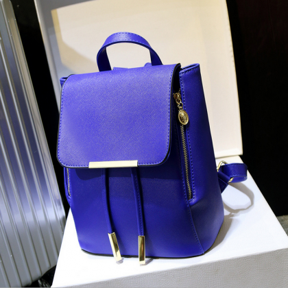 Fashion Blue Backpack, Women Leathe..