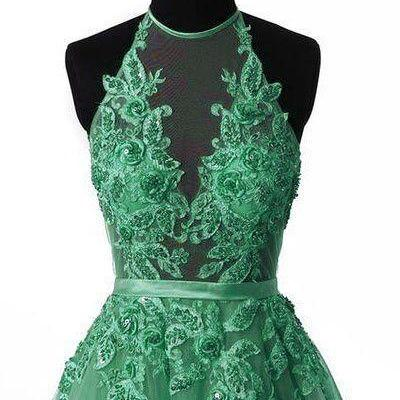 Unique tulle lace applique green lo..