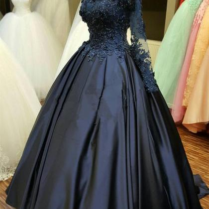 Lace Long Sleeve Prom Dress Evening..