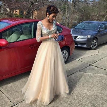 Tulle Prom Dress, Elegant Prom Dres..