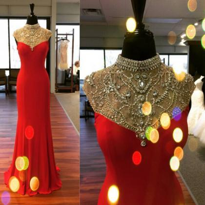 Red Prom Dress, Cap Sleeve Prom Dre..