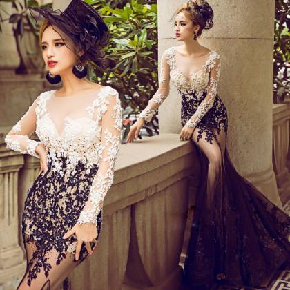 Long Sleeve Lace Prom Dresses, Vint..