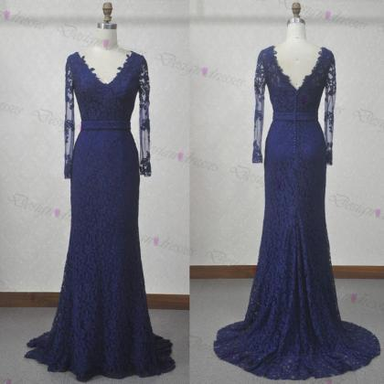 Lace prom dress,long sleeve prom dr..
