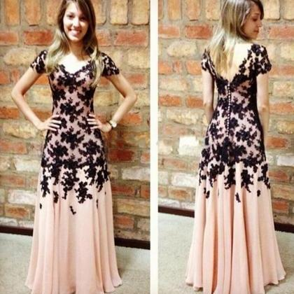 Blush Pink Prom Dress,Vintage Prom Gown,Women Boho Sleeves Plus Size  Evening Gowns,V Neckline Party Dress,Black Lace Evening Dress