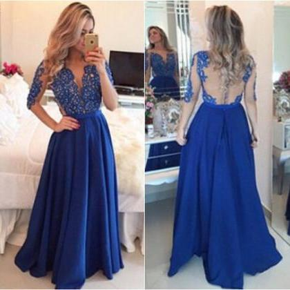 Royal Blue Prom Dress,Lace Evening ..