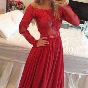 2017 Custom Made Red Lace Prom Dres..