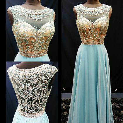 cheap prom dress, long blue Prom Dr..