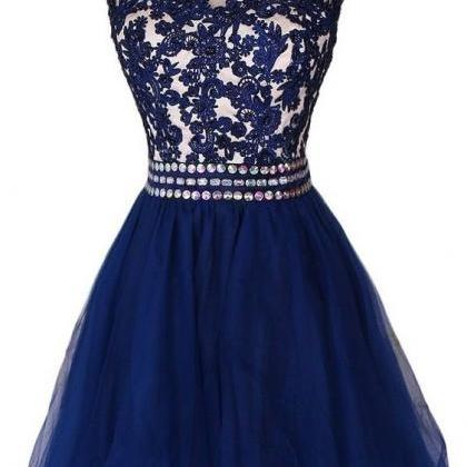 Lovely Navy Blue Short Lace Appliqu..