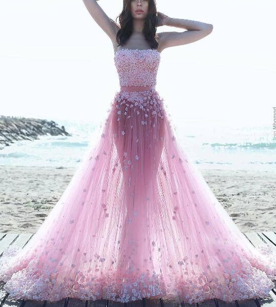 511072c65 Two Piece Prom Dresses, 3D Flowers Evening Dress, Strapless Evening Dress, Floral  Dresses Long, Pink Evening Dress, Cheap Evening Dress, A Line Evening ...