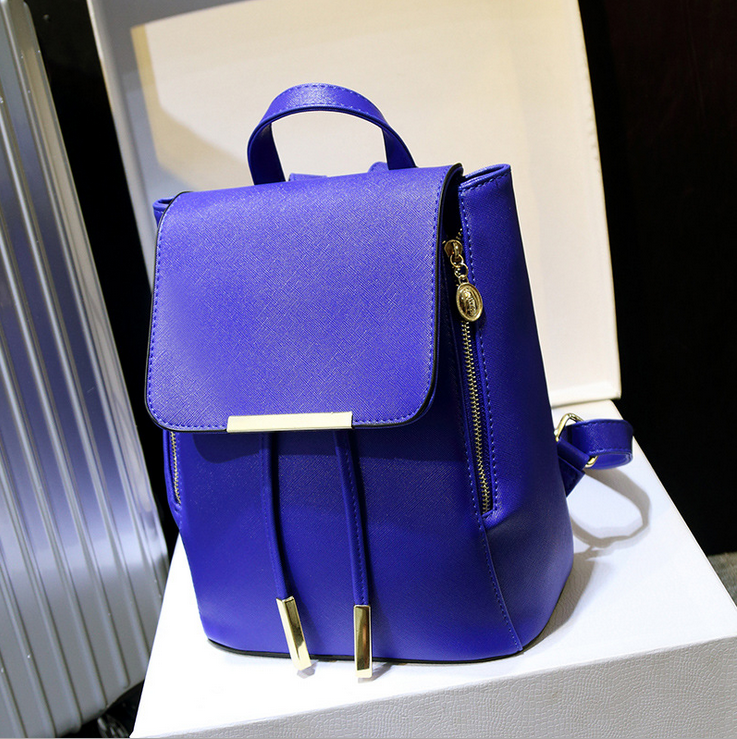 Fashion Blue Backpack, Women Leather Backpacks For Teenage Girls School Bags