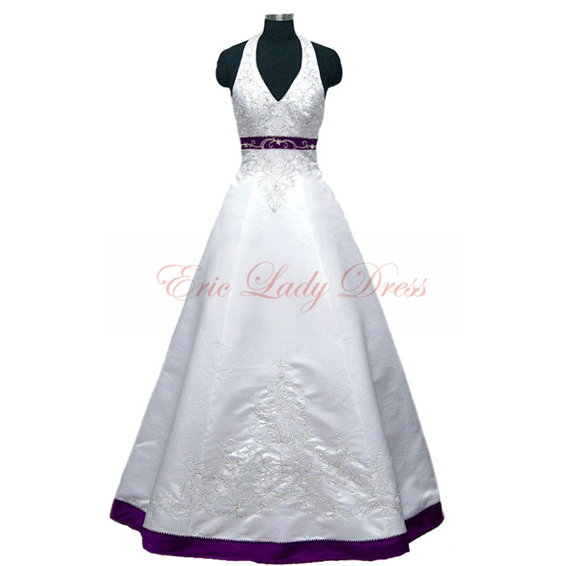 Wedding Dresses,Halter White And Purple Embroidery Wedding Dresses ...