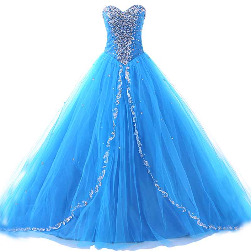 Sparkling Blue Prom Dresses Sweetheart Beaded Ball Gown Quinceanera ...