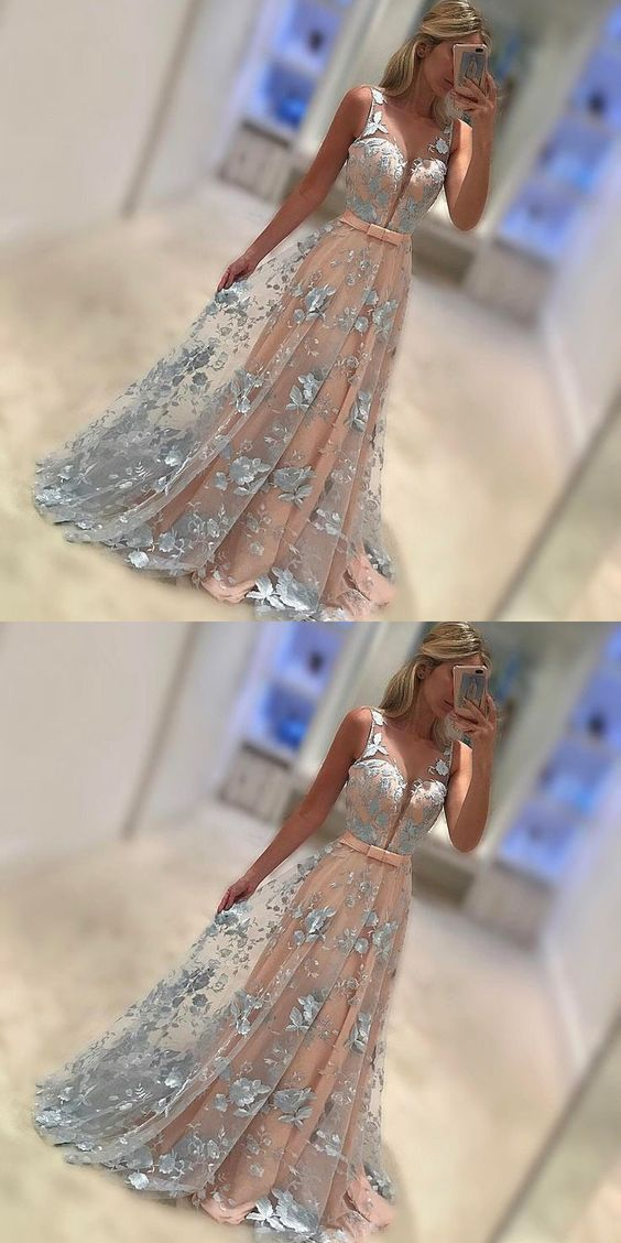 Elegant Prom Dresses,A-Line Prom Gown, Sleeveless Blue Evening Dresses,Chiffon Long Prom Dress with Lace,Prom Dress