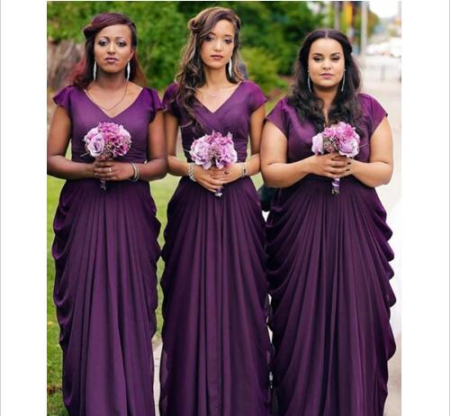 Cheap Wedding Dresses,Custom Made Purple Plus Size Bridesmaids Dresses
