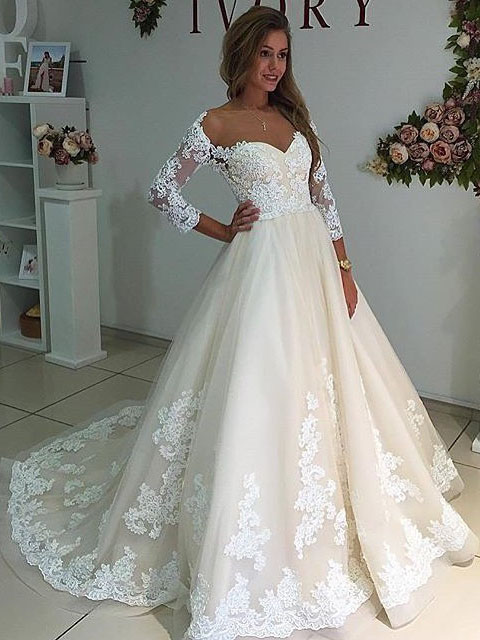 Wedding Dresses Sheer Neck Long Sleeves Ivory Dress With Lace