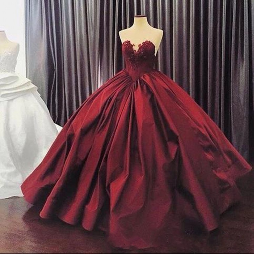 Burgundy Quinceanera Dresses Puffy Ball Gown Lace Quinceanera