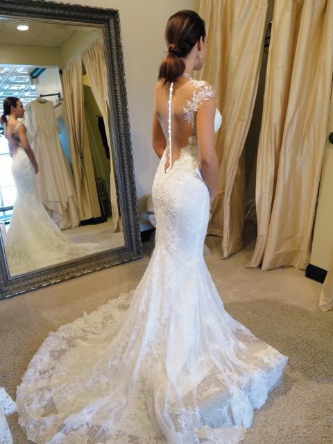 White Wedding Dresses Lace Wedding Gowns Mermaid Perspective Halter