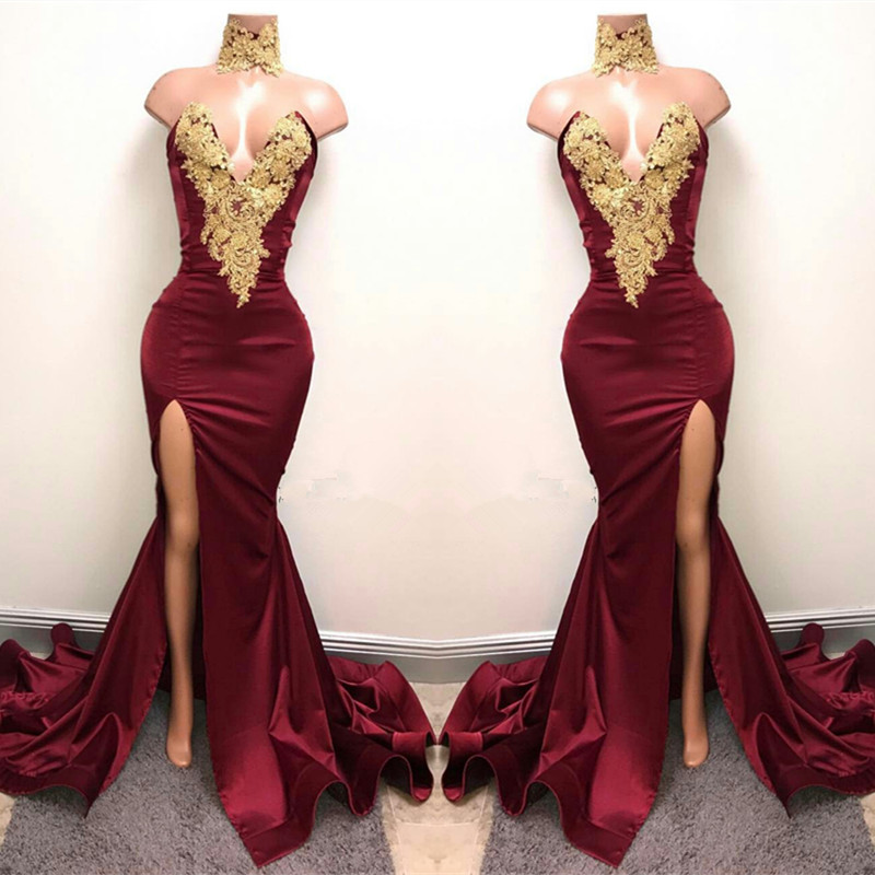 8b7546b1ea6 Lace Appliques Mermaid Burgundy Evening Gown Front Split High Neck Sexy Prom  Dress