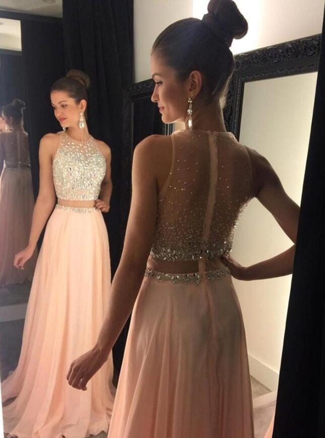 830f48df50 New Blush Prom Dresses, Two Pieces Prom Dress, Chiffon Prom Dress, Sexy  Prom Dress,Long Prom Dress,Formal Women Dress,Evening Dress,Wedding Party  ...