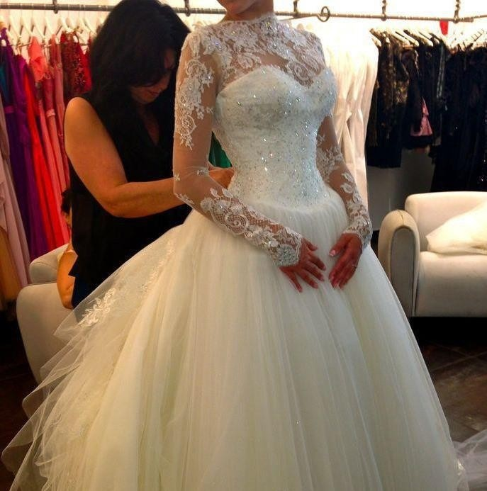Lace Appliques Long Mesh Sleeves Floor Length Tulle Wedding Gown ...