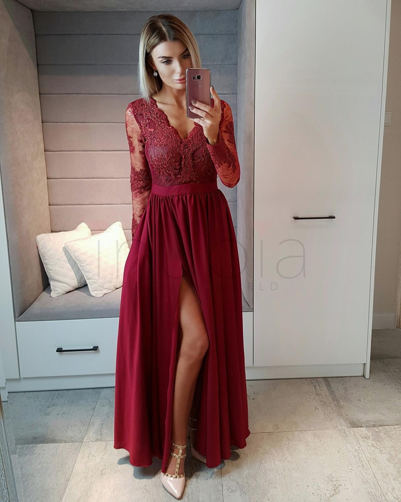 0d1b744a00182 Red Wine Colored Prom Dresses