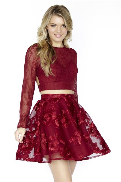 Long Sleeves Two Piece Homecoming Dressesburgundy Lace Short