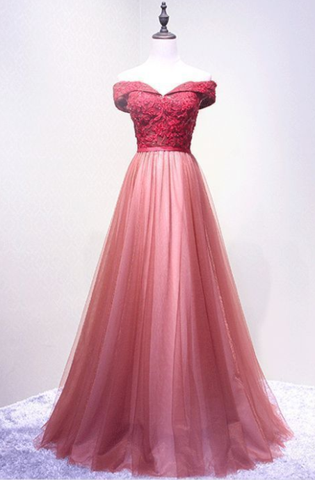 Long Prom Dress, Tulle Prom Dresses, Elegant Party Prom Dresses, Off-Shoulder Evening Dresses, Lace Floor-Length Prom Dresses,Long Evening Dress , Party Dresses, Long Prom Dress,Graduation Dress