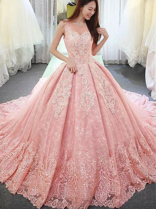 Fantastic Pink Tulle Lace Wedding Dressesjewel Neckline Ball Gown