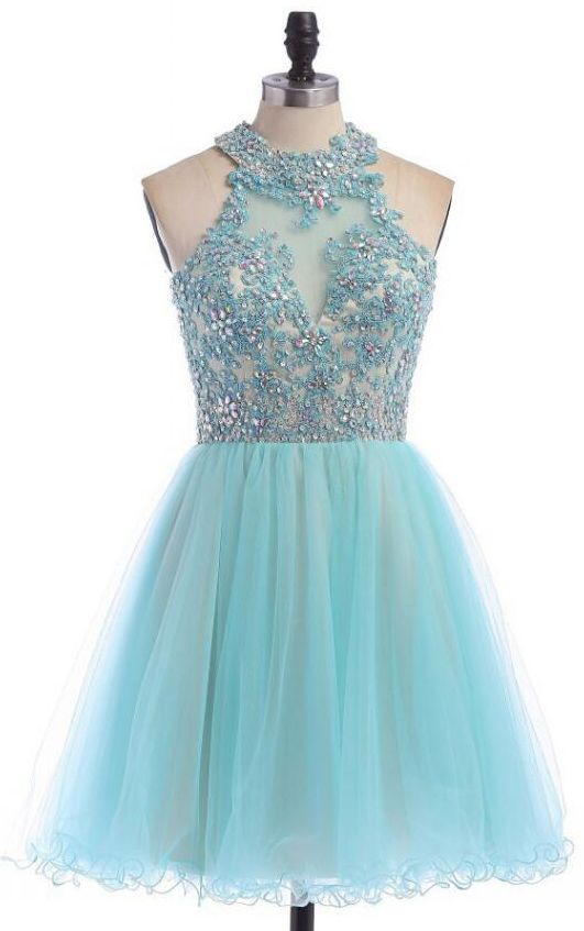 Sky Blue Open Back Sequined Graduation Dress,Charming Halter Beaded Appliques Homecoming Dress,Lace Appliques Junior Prom Formal Dress