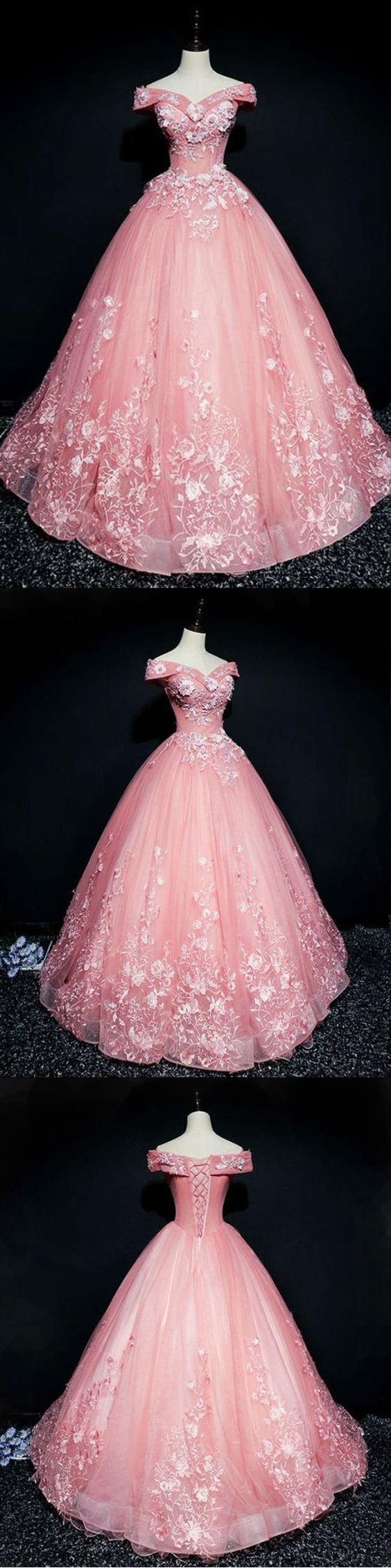 Pink organza floor length prom dress, V neck, off shoulder, winter formal prom dresses with appliques,,evening dress,long A-line evening dress