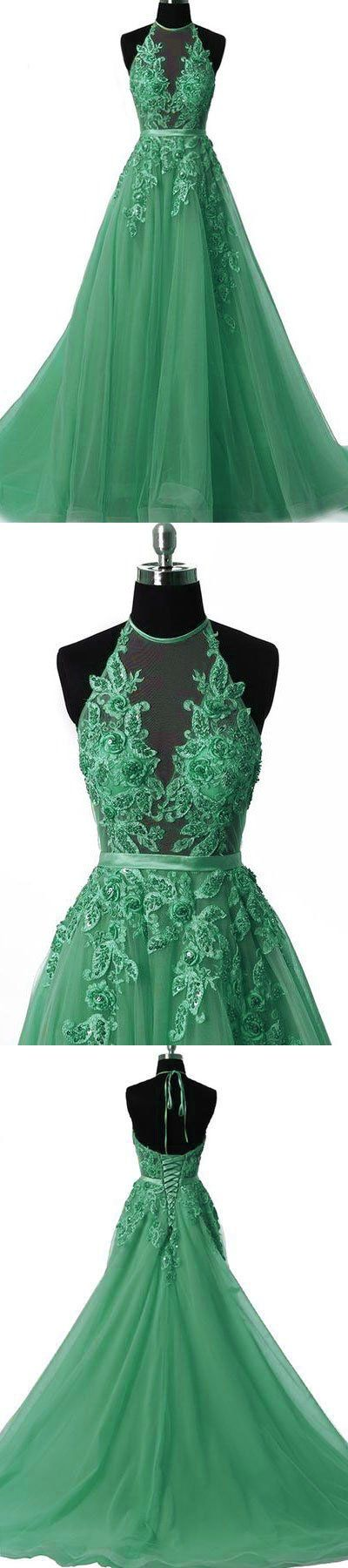 Unique tulle lace applique green long prom dress, green tulle evening dress,Appliques prom dress,Prom Gowns,A-line evening dress