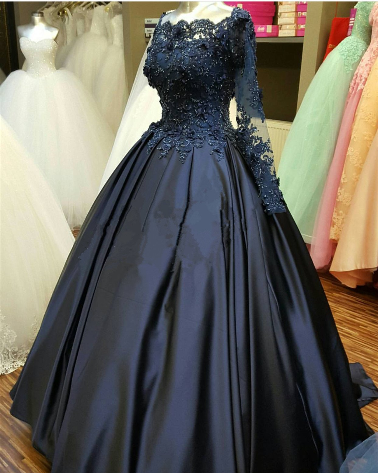 Lace Long Sleeve Prom Dress Evening Dress Custom Color