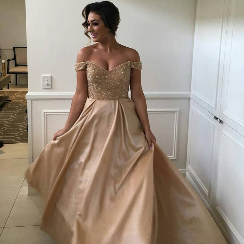 bb4ee618238 Stunning Champagne Prom Dress - Off Shoulder Sweep Train with Beading