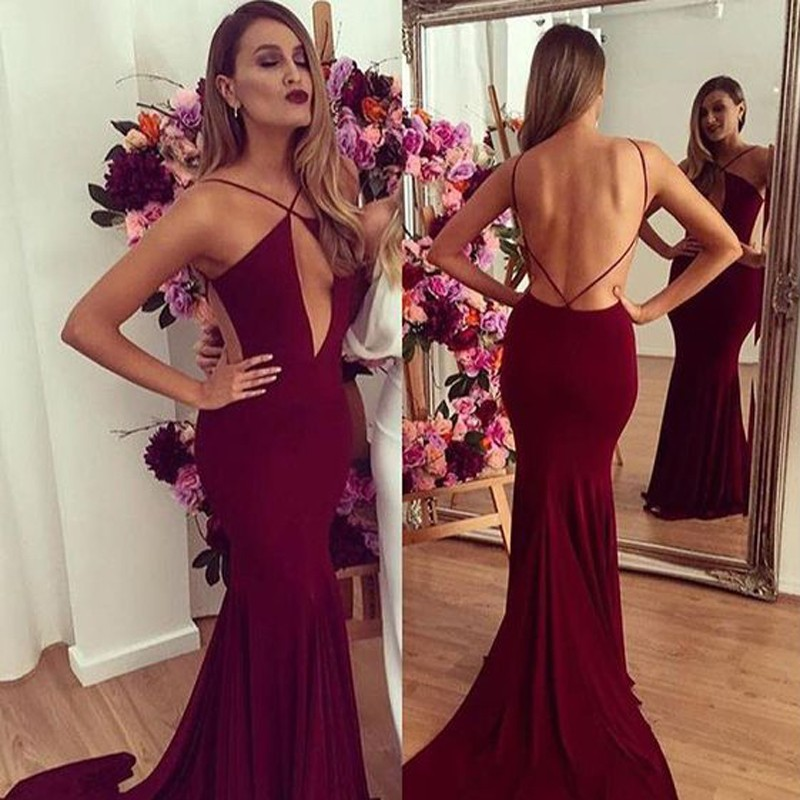 22465646253e Sexy Burgundy Mermaid Spaghetti Straps Sleeveless Backless Ruched Long Prom  Dress ,Cheap Prom Dress,Formal Dress, Sexy Gril Dress, Floor-Length Prom  Dresses ...