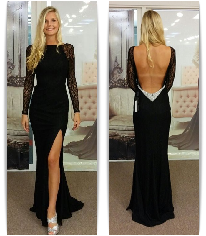 Long Sleeve Lace Backless Prom Dress,Cheap Prom Dress,Formal Dress ...