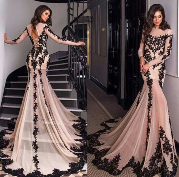Lace Prom Dress, Champagne Prom Dress, Long Sleeves Prom Dress ...