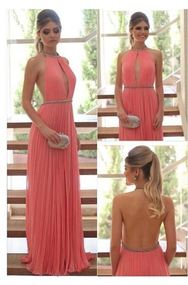 Prom Dresssexy Elegant Chiffon Coral Top Long Prom Dress For 2017