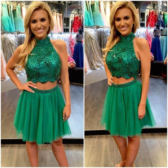 Halter 2 Pieces Homecoming Dress Short Floral Beading Homecoming