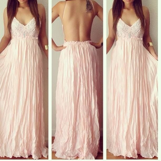 Lace Plunge V Spaghetti Strap Floor Length Maxi Dress Featuring Open Back, Prom Dress