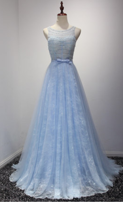 Lace Prom Dresses,Blue Prom Dress,Modest Prom Gown,Light Blue Prom ...