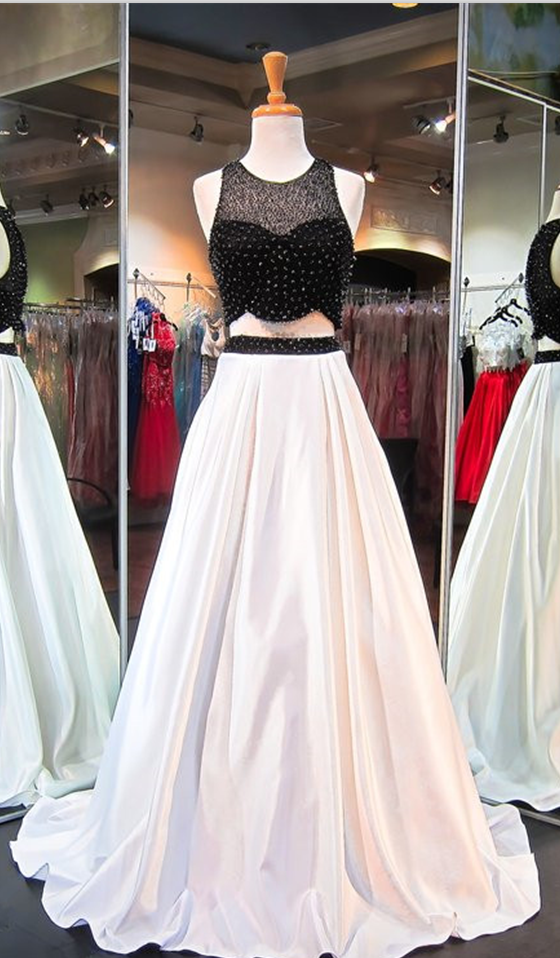 Graduation Dress Two Piece Black White Prom Dress A Line Prom Dresses High Quality Graduation Dresses Wedding Guest Prom Gowns Formal Occasion