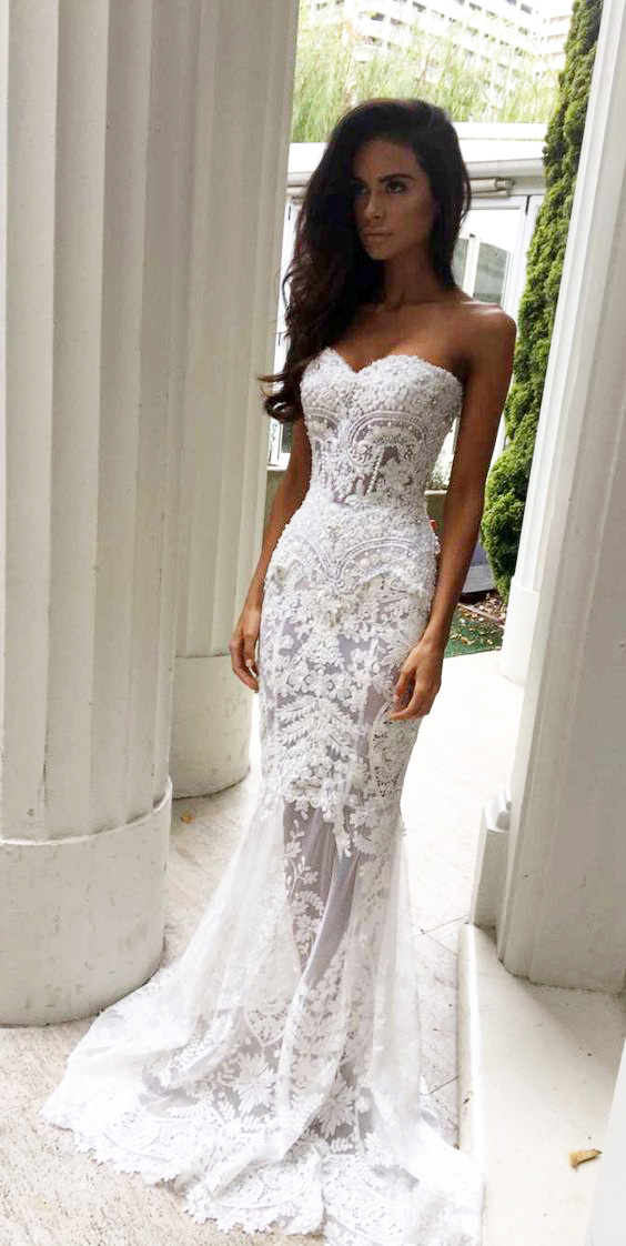 3cb5378f1a02 Lace Wedding Dress,Charming Sheath Sweetheart Wedding Dresses with  Appliques, Lace Wedding Dresses,Strapless Bridal Dresses,Long Wedding  Dresses