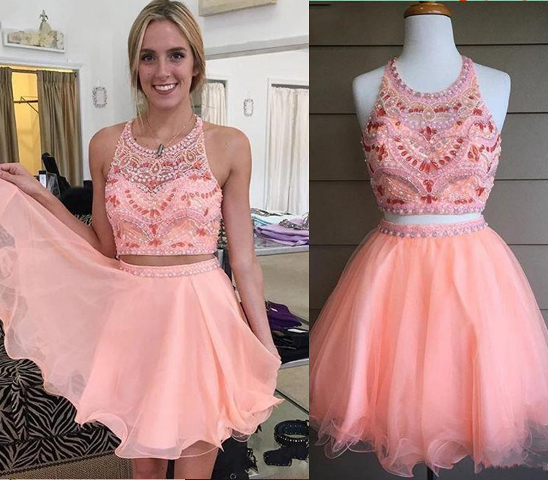 Blush Pink Homecoming Dress,2 Piece Homecoming Dresses,Silver ...