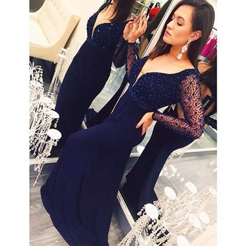 65488f58295 Navy Blue Prom Dress