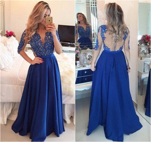 Royal Blue Prom Dress,Lace Evening Dress,Backless Prom Dress,Prom Dresses With Long Sleeves,Charming Prom Gown,Open Back Prom Dress,Mermaid Fashion Evening Gowns for Teens