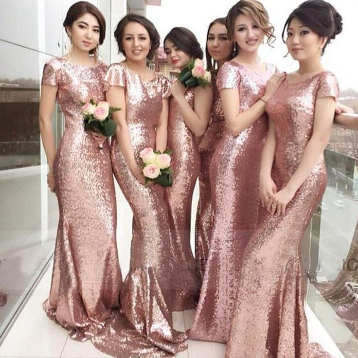 Rose Gold Long Mermaid Bridesmaid Dress 4e07af1b6465