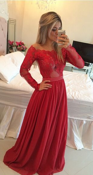 2017 Custom Made Red Lace Prom Dress, Long Sleeves Evening Dress, See Through Party Dress,Chiffon Prom Dress,High Quality