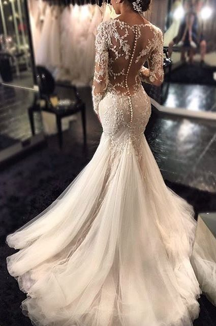 Mermaid Wedding Dress Long Sleeves Dresses Lace Beaded Bridal Sheer Back Y Gowns