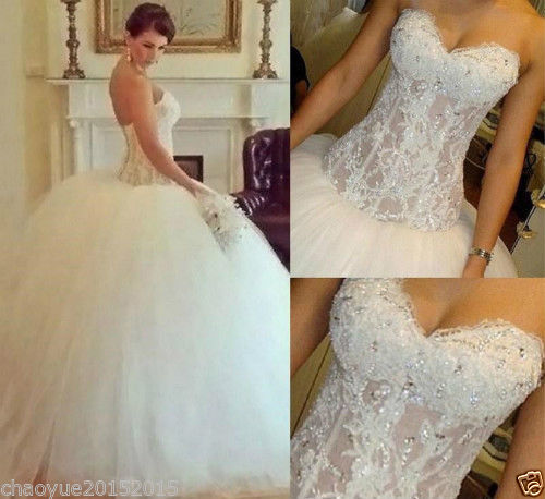 New White/Ivory Wedding Dress Bridal Ball Gown