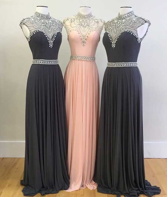 Charming Prom Dress,Sexy Prom Dress,High Neck Prom Dresses,Beading Evening Dress,Chiffon Evening Dresses,Formal Gown